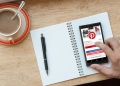 54316248 - chiang mai, thailand-march 8,2016: notebook with pinterest app showing on android smart phone. pinterest is a pinboard-style application for sharing photo, interests, or hobbies